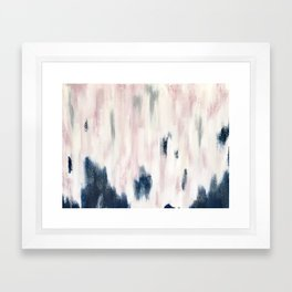Blush Pink and Blue Pretty Abstract Framed Art Print