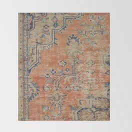 Vintage Woven Navy and Orange Throw Blanket