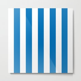 French blue - solid color - white vertical lines pattern Metal Print