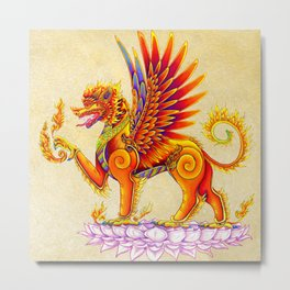 Singha Winged Lion Temple Guardian Metal Print