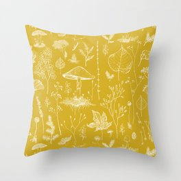 Woodland Walk / Mustard Throw Pillow