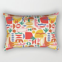 Mid Century Summer Abstraction Pattern Rectangular Pillow