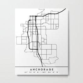 ANCHORAGE ALASKA BLACK CITY STREET MAP ART Metal Print