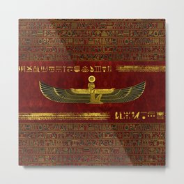 Golden Egyptian God Ornament on red leather Metal Print
