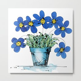 Seven Flowers (Blue): cheery original art in a loose style, simple flowers in a turquoise pot Metal Print
