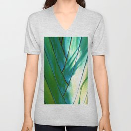 Exotic Palm Fan Woven In Shadow and Dappled Sunlight Unisex V-Neck
