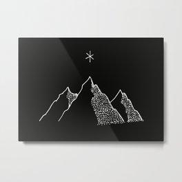 Mountain Range / Black & White Metal Print