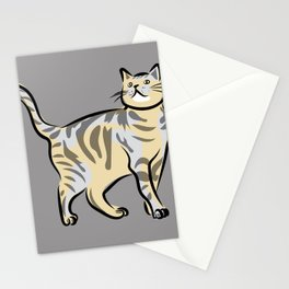cat (grey) Stationery Cards