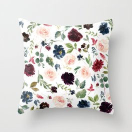 Burgundy Navy Blue Watercolor Flowers Throw Pillow