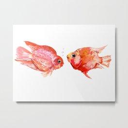 Two Love Fish, Fish art, Love, aquarium design, Parrot Cichlids Metal Print