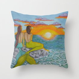 Mermaid Sunset Throw Pillow