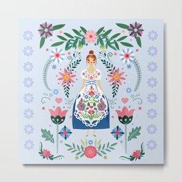 Fairy Tale Folk Art Garden Metal Print