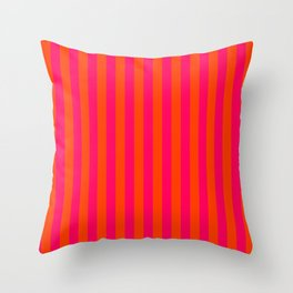 Orange Pop and Hot Neon Pink Vertical Stripes Throw Pillow