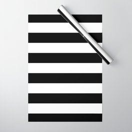 Stripe Black And White Horizontal Line Bold Minimalism Stripes Lines Wrapping Paper