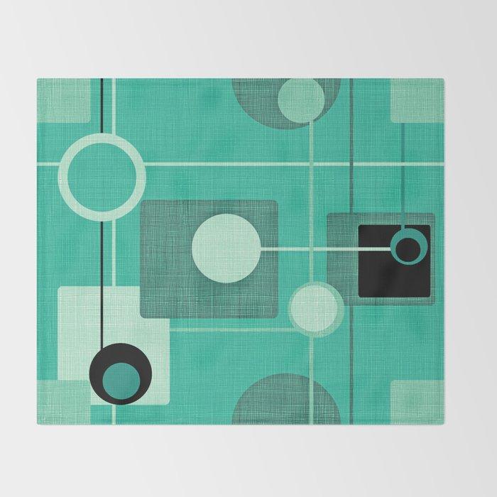 Orbs and Squares (aqua) Throw Blanket