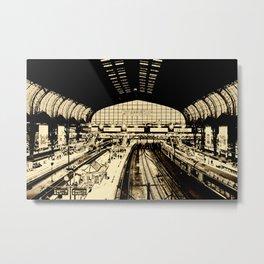Hamburg Railwaystation monochrom Metal Print