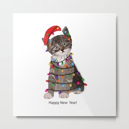 Cute cat with Santa Claus hat and light bulb Metal Print
