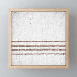 Farmhouse Grain Sack Dark Brown Stripes Framed Mini Art Print