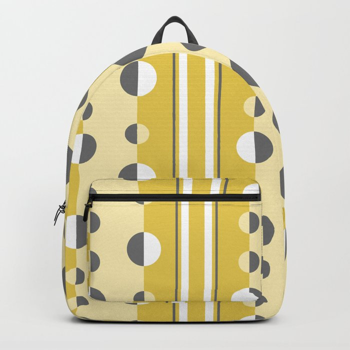 Circles and Stripes in Mustard Yellow and Gray Backpack