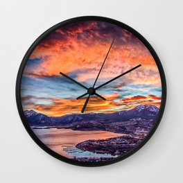 Sunset Pano // Beautiful Rocky Mountain Lake View Colorado Red Orange Sky Wall Clock