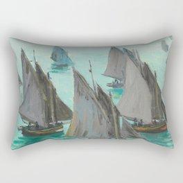"""Claude Monet """"Bateaux de pêche, temps calme"""" Rectangular Pillow"""