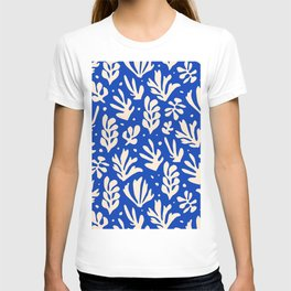 matisse pattern with leaves in blu T-shirt