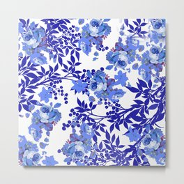 BLUE AND WHITE ROSE LEAF TOILE PATTERN Metal Print