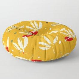 Vanilla flowers on a peanut background Floor Pillow