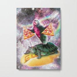 Pizza Sloth On Turtle Metal Print