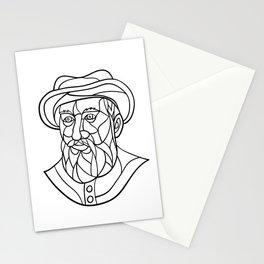 Ferdinand Magellan Mosaic Black and White Stationery Cards