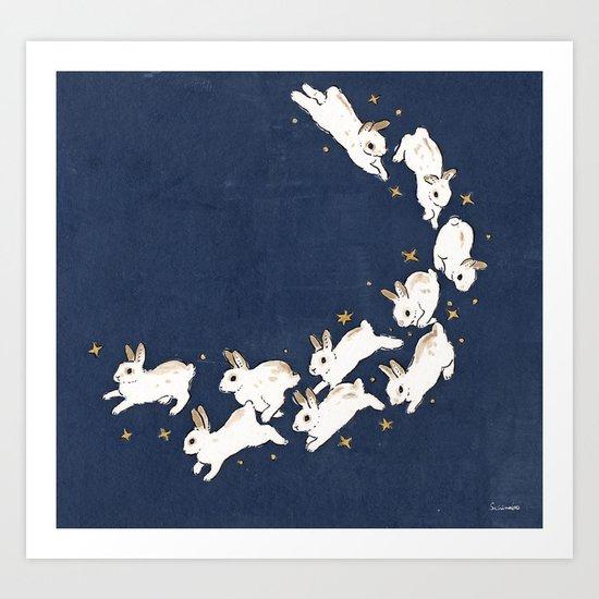 Rabbits run by schinako
