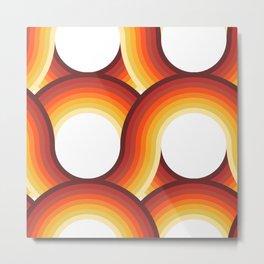 Rollin' Retro Road in Orange Ombre + White Metal Print