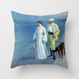 Peder Severin Krøyer Summer Evening Skagen Beach Throw Pillow