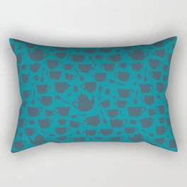 Teacup and Teapot Silhouettes- blue teal Rectangular Pillow