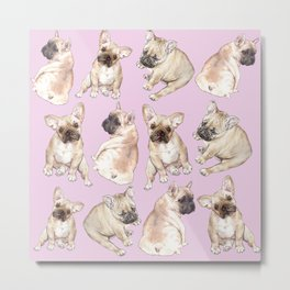 Frenchies: French Bulldog Puppies Pattern Metal Print