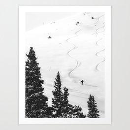 Backcountry Skier // Fresh Powder Snow Mountain Ski Landscape Black and White Photography Vibes Kunstdrucke
