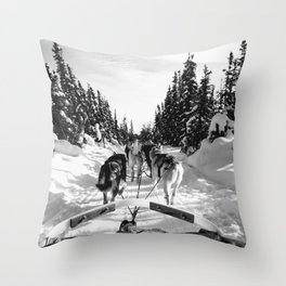 Sled Dogs B&W Throw Pillow