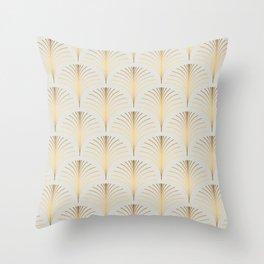 Golden Fan Leaf Art Deco Classic Pattern Throw Pillow