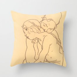 "Egon Schiele ""Woman and Girl Embracing"" Throw Pillow"