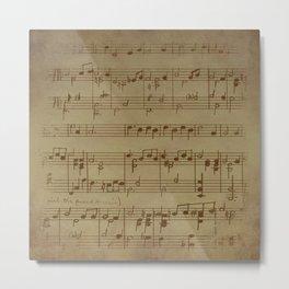 Vintage Music Sheet (Monochrome) Metal Print