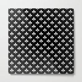 White French Fleur de Lis on Black Metal Print
