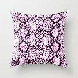pink neon snake print Throw Pillow