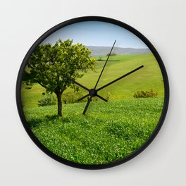 Beautiful spring landscape with tree on foreground in Tuscany countryside, Italy Wall Clock