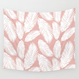 Pink Tropical Leaf Pattern Wall Tapestry