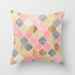 Silver Grey, Soft Pink, Wood & Gold Moroccan Pattern Throw Pillow