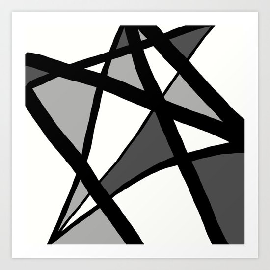 Geometric Line Abstract - Black Gray White by abstractblackwhite