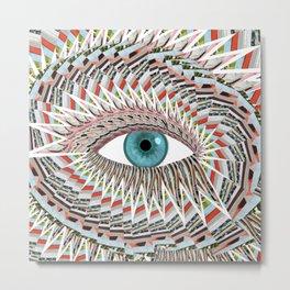 Origami Chakra Eye - Aqua Marine Blue Metal Print