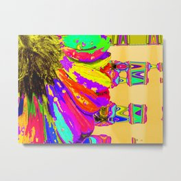 Rainbow Abstract Daisy Metal Print