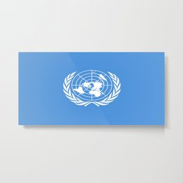 Flag on United nations -Un,World,peace,Unesco,Unicef,human rights,sky,blue,pacific,people,state,onu Metal Print