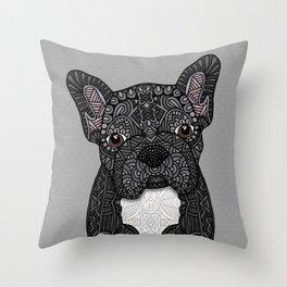 Black Frenchie 001 Throw Pillow